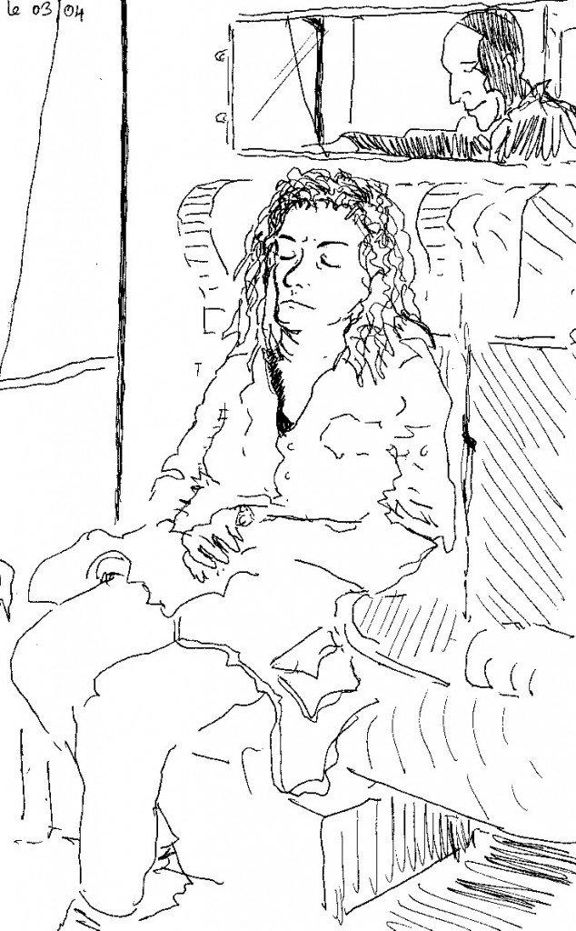 dormeuse dans train