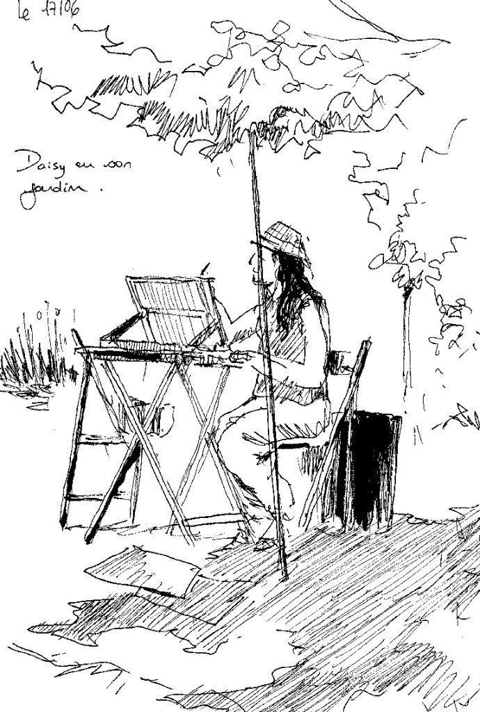 Dessinatrice dans un jardin