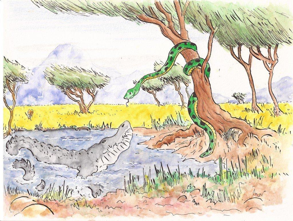 crocodile et serpent
