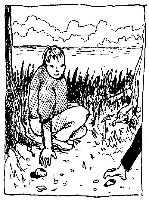 enfant ramasse une pierre