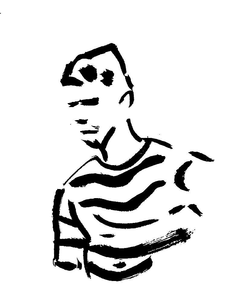 homme au pull rayé