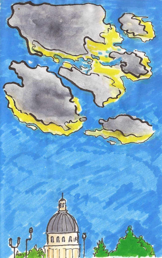 ciel bleu au dessus de paris avec des nuages