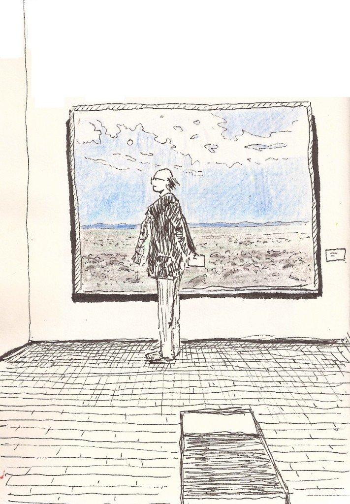 un bonhomme au musée d'art