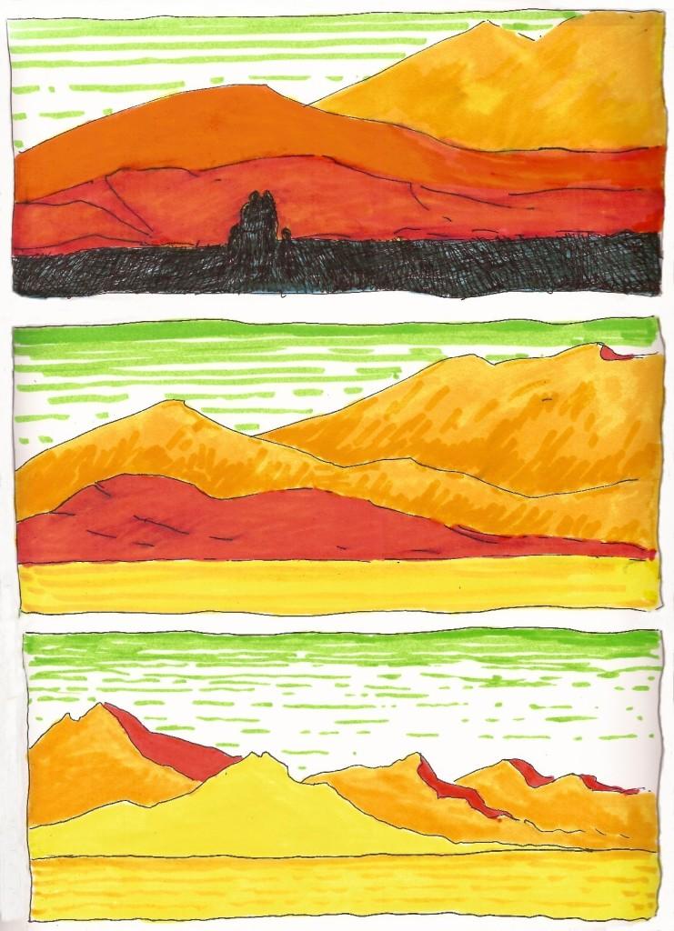 désert rouge et jaune et orange