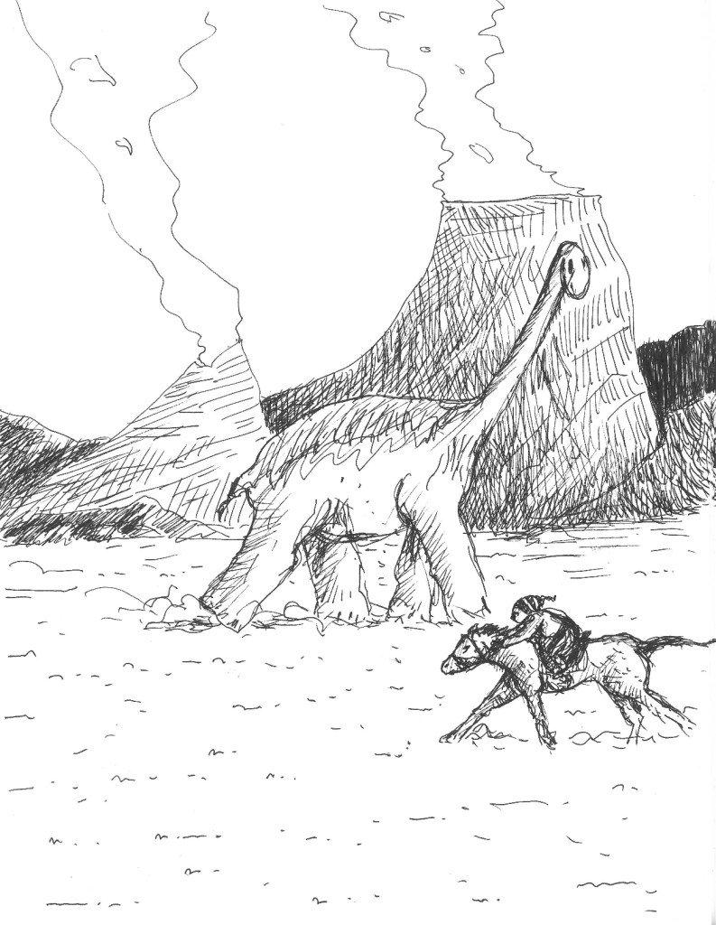 le dinosaure et le cavalier