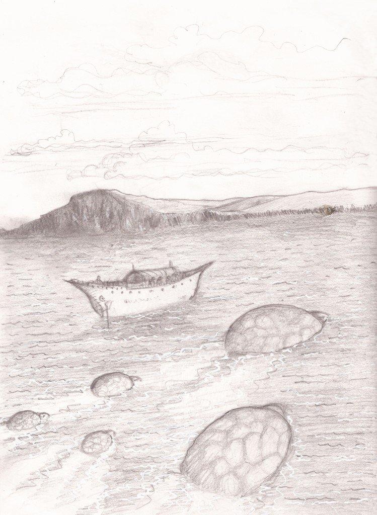 un bateau et des tortues