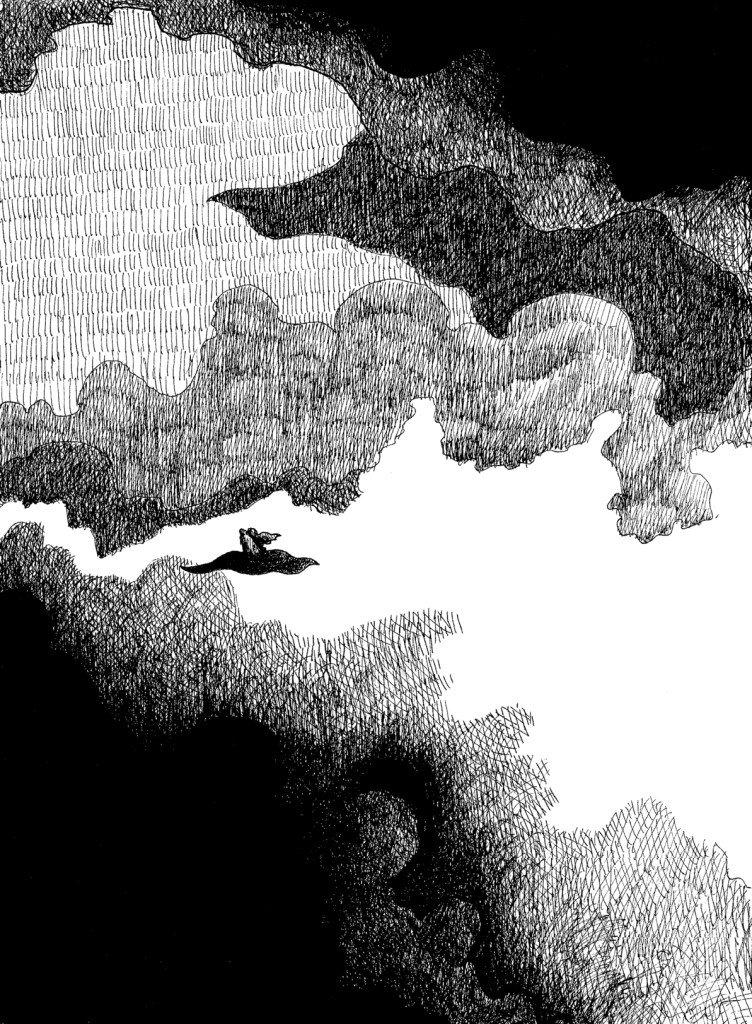 Tapisvolant sous un ciel nuageux