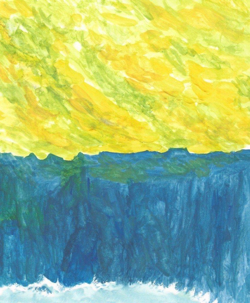 maison a la falaise au ciel rougeoyant mais jaune en fait