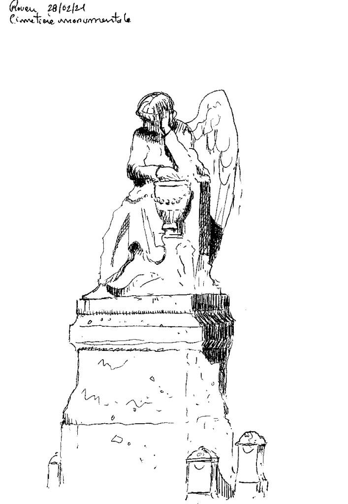 statue cimetière de la miséricorde rouen