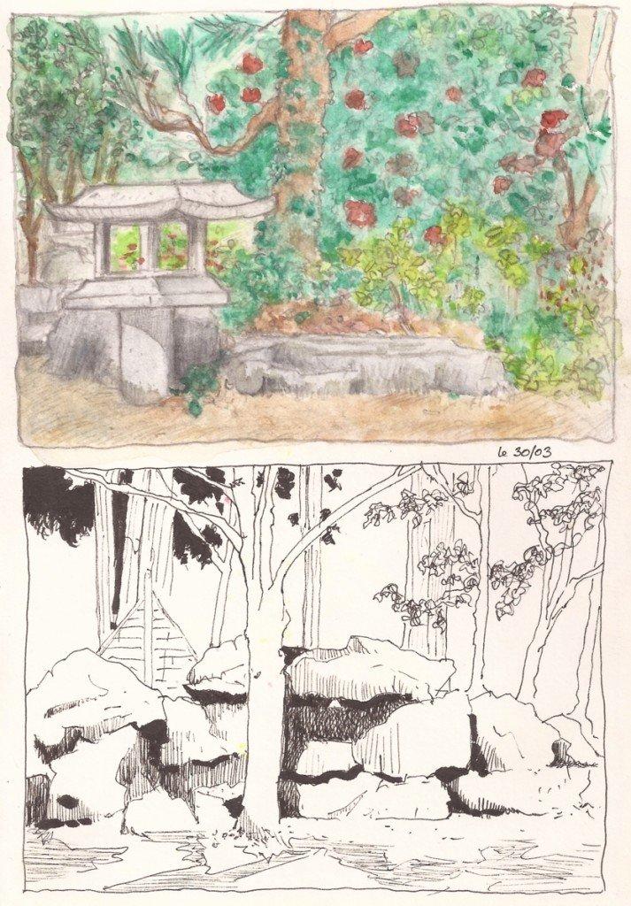 deux cases dans le jardin japonais